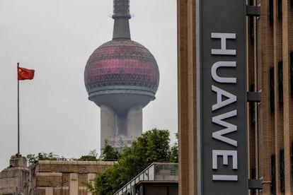 En edificio de Huawei de Shanghái (China).