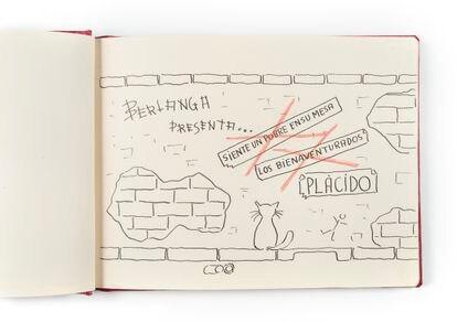 Cuaderno de recuerdos de rodaje de la película 'Plácido' en Manresa (1961).