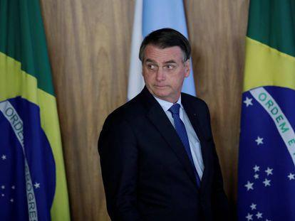 El presidente Jair Bolsonaro durante la visita de Macri a Brasilia el miércoles.