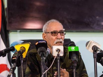 El líder del Frente Polisario, Brahim Gali, este sábado durante la rueda de prensa.