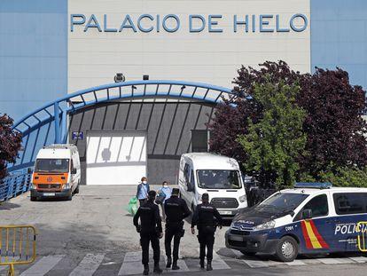 Vista exterior de las instalaciones del Palacio del Hielo en Madrid, este lunes.