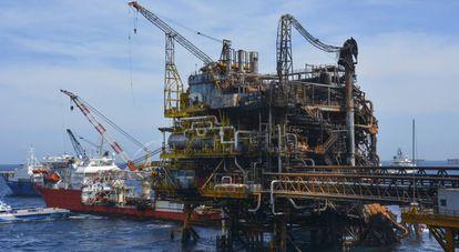 Una plataforma petrolera de Pemex en el Golfo de México.