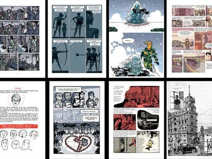 Páginas de 'Los surcos del azar', 'La cólera', 'El héroe', 'Murderabilia', 'María y yo', 'El día 3', 'Historias del barrio' y 'La balada del norte', cómics publicados por la editorial Astiberri.