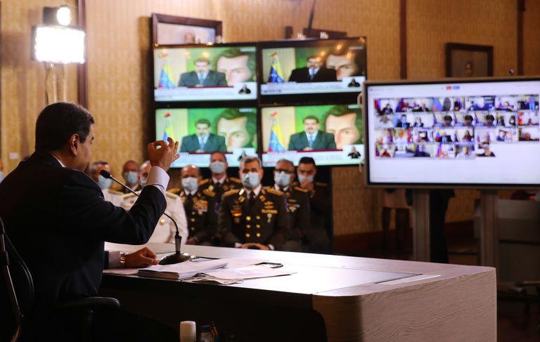 Nicolás Maduro, este miércoles durante una videoconferencia con diplomáticos y periodistas.