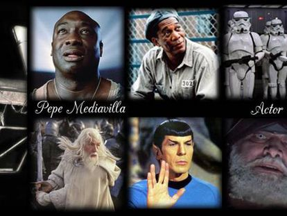 Algunos de los papeles de Mediavilla como actor de doblaje, en una foto tomada de su Facebook.