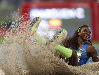 La colombiana Caterine Ibargüen, campeona en salto triple en los olímpicos de Río de Janeiro.