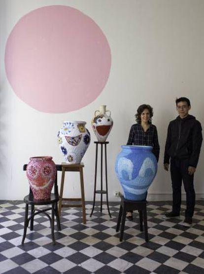 Ángela Cuadra y Kato en la exposición 'Raison d'etre', en Salón.