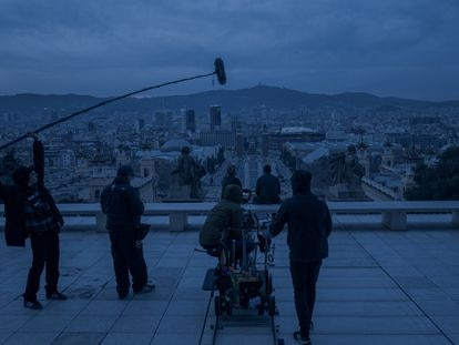 Un instante del rodaje de 'El inocente' en Barcelona.