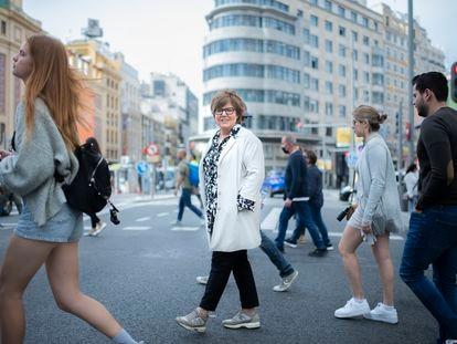 María Escario, el viernes en la Gran Vía de Madrid.
