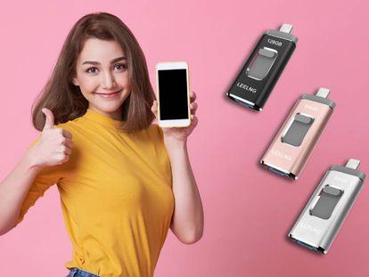 Este pendrive para teléfonos iPhone o Android está disponible en color negro, gris y rosa.