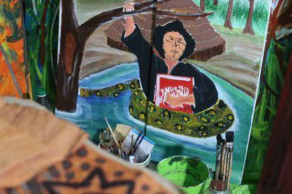 Uno de los cuadros expuestos en el taller de Aimema Uai.