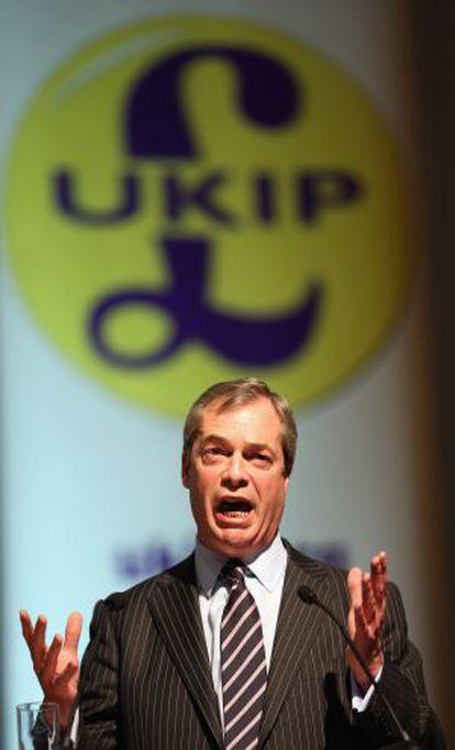 Nigel Farage, este sábado en Exeter.