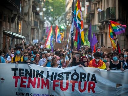 Una manifestación LGTBI en Barcelona, en una fotografía de archivo.