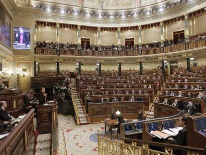 Vista del hemiciclo del Congreso de los Diputados durante el debate de investidura de Mariano Rajoy.