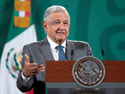 El presidente Andrés Manuel López Obrador en conferencia de prensa el 14 de julio.
