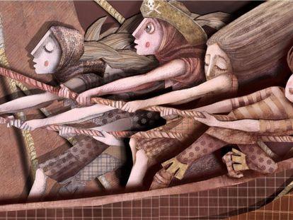 """Imagen del libro """"Piratas no recreo"""". Texto de Miguel Anxo Alonso Diz e ilustración de Luz Beloso. Imagen cedida por"""