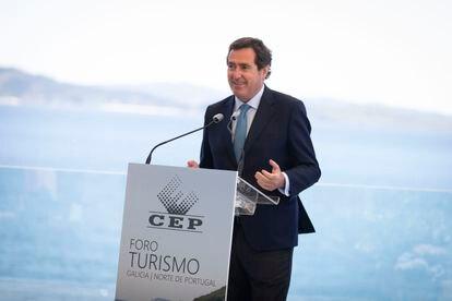 El presidente de la patronal CEOE, Antonio Garamendi, el pasado viernes en Sanxenxo (Pontevedra).