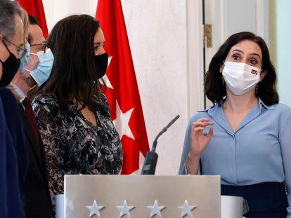 Isabel Díaz Ayuso, antes de anunciar, este miércoles, que convoca elecciones en la Comunidad de Madrid.