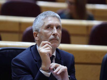 El ministro del Interior, Fernando Grande-Marlaska, durante la sesión del control al Gobierno celebrada este martes en el Senado.
