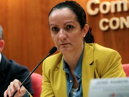 La directora general de Salud Pública, Yolanda Fuentes, en una rueda de prensa en febrero.