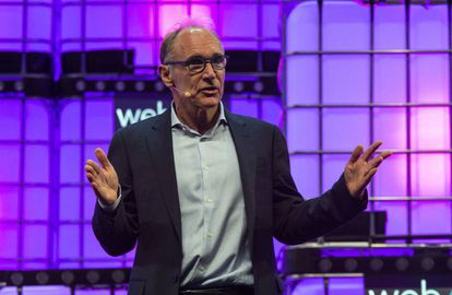 """""""Internet era chiquitito-chiquito y se ha hecho así de graaaande..."""". El creador de Internet, Tim Berners-Lee, esta semana en Lisboa."""