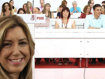 Susana Díaz, en primer plano en el comité federal del PSOE.
