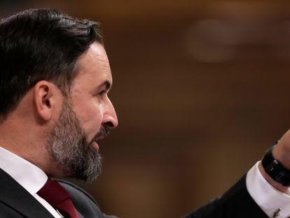 El líder de Vox, Santiago Abascal, ayer en el Congreso de los Diputados durante la moción de censura.