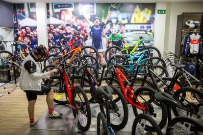 Un ciclista revisa una bicicleta en la tienda de la marca Trek en Málaga en febrero.