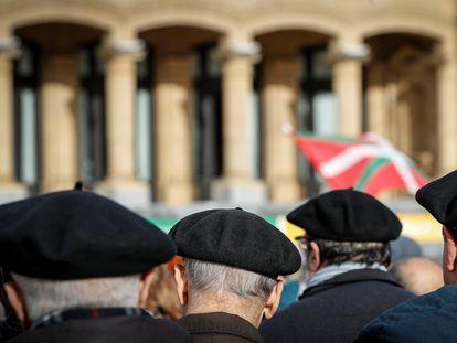 Manifestación de pensionistas en San Sebastián, en enero de 2020.