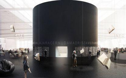 Simulación del pabellón de Madrid en la FIL diseñada por Alberto Campo Baeza.