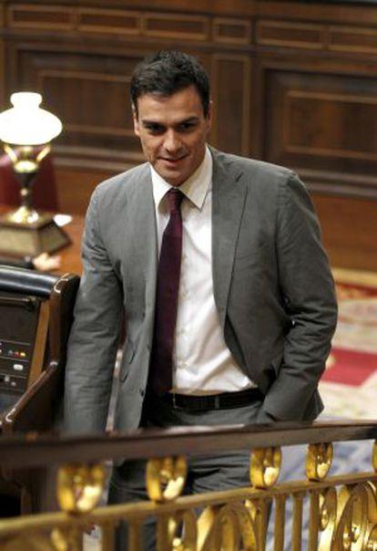 Pedro Sánchez, líder del PSOE, tras la aprobacion de la llamada ley Mordaza y la reforma del código penal.