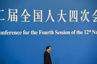 El primer ministro chino, Li Keqiang, a su llegada a la conferencia de prensa ante la Asamblea Nacional en Pekín.