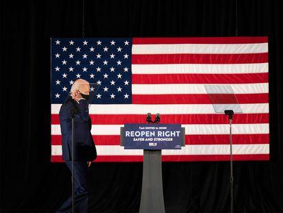 El candidato presidencial demócrata Joe Biden en Delawere.