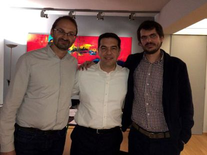 Joan Herrera, Alexis Tsipras y Ernest Urtasun