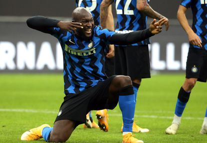 Lukaku celebra un gol en su último partido con el Inter.