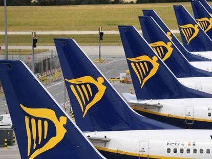 Aviones de la aerolínea irlandesa Ryanair, en una fotografía de archivo.