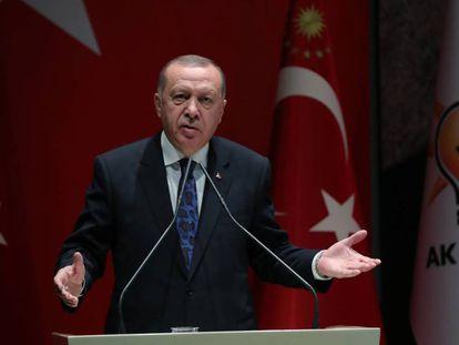Erdogan durante un acto de su partido, este jueves en Ankara. En vídeo, sus declaraciones.