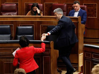 El ministro del Interior, Fernando Grande-Marlaska, en el pleno celebrado este jueves en el Congreso de los Diputados.