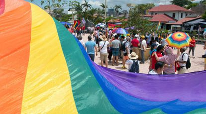 Una manifestación en favor del matrimonio igualitario en San José, en agosto de 2018.