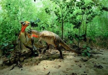 Ilustración de dos ejemplares representativos del ecosistema final del cretáceo poco antes de la extinción de hace 65 millones de años