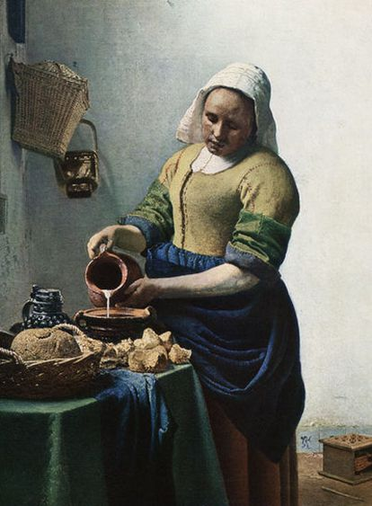 <i>La lechera</i> (1657-1658), de Vermeer, se exhibe en el Metropolitan.