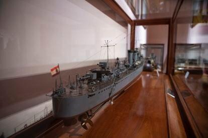 Maqueta del buque republicano 'Churruca' en el Museo Naval de Madrid.