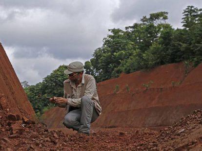El investigador Antonio Rosas, en un corte del terreno donde se pueden encontrar fósiles.