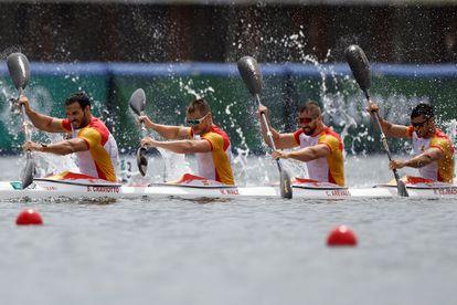 Saúl Craviotto, Marcus Walz, Carlos Arévalo y Rodrigo Germade en la final de K4-500 en la que han conseguido la medalla de plata.