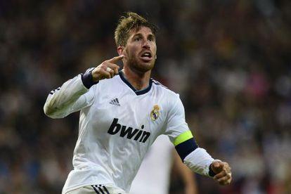 Ramos celebra el gol que ha marcado, el segundo del Real Madrid.