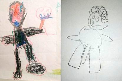 Dibujos del niño cuyos padres han denunciado abusos sexuales en un juzgado de Majadahonda, Madrid.