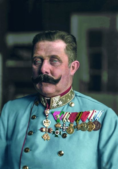 Archduke Franz Ferdinand, heirs of the Austro-Hungarian Empire assassinated in Sarajevo, in a colored portrait from the book 'The Color of Time'.