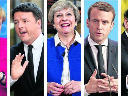 Desde la izquierda, Angela Merkel, Matteo Renzi, Theresa May, Emmanuel Macron y Mariano Rajoy.