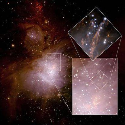 Imagen compuesta de la nebulosa de Orión, tomada con el telescopio Gemini Norte (Hawai) y el sistema de óptica adaptativa ALTAIR.