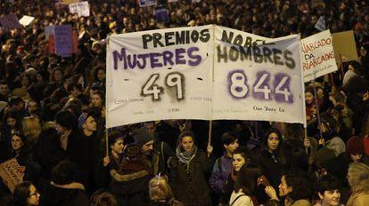 Mujeres se manifiestan en Madrid contra la desigualdad de género, el pasado 8 de marzo, Día Internacional de las Mujeres.